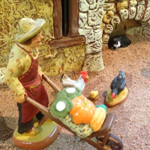Santon - Le jardinier et sa brouette de légumes - Santons Fouque