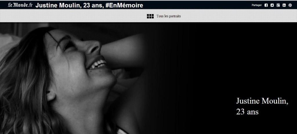 Justine Moulin, 23 ans, #EnMémoire
