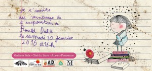 Carton d'invitation Vernissage expo Roald Dahl