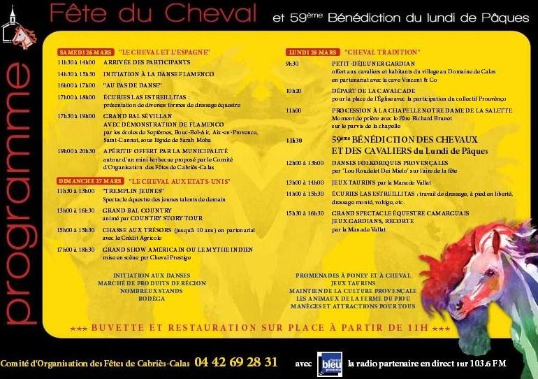 Programme fête du cheval de Calas 2016 - Provence