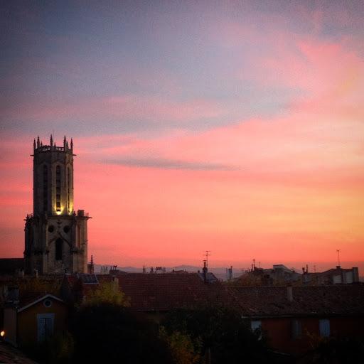Coucher de soleil sur Saint Sauveur - Isabelle Faillard