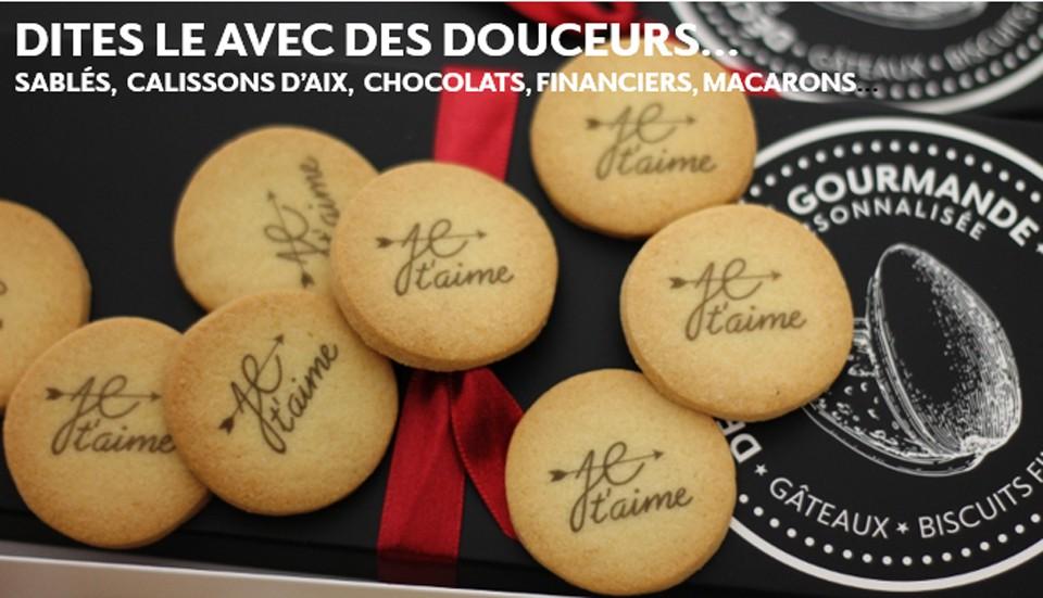 Déclaration gourmande Je t'aime - calissons d'Aix et biscuits personnalisés - chocolat