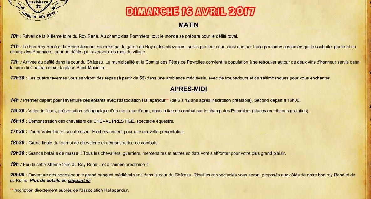 Foire du Roy René - fête médievale - Peyrolles en Provence programme dimanche 16 avril 2017