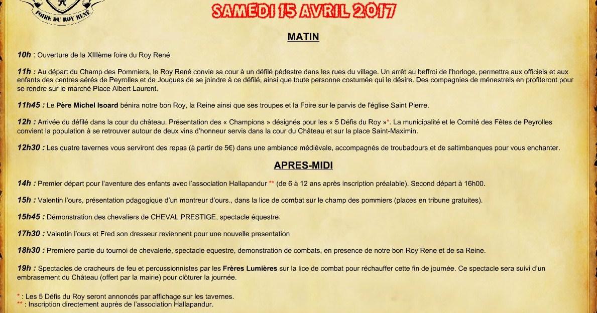Foire du Roy René - fête médievale - Peyrolles en Provence programme samedi 15 avril 2017