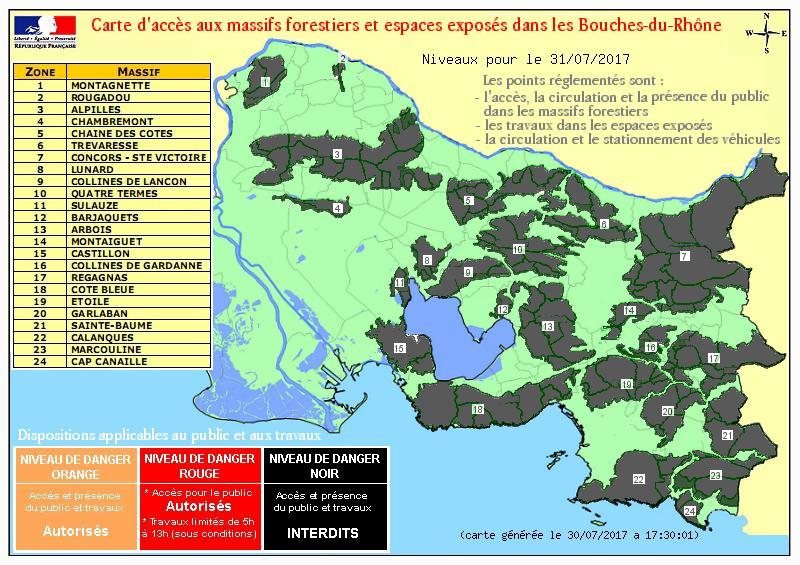Risques incendies - Carte d'accès aux massifs 13 Bouches du Rhône