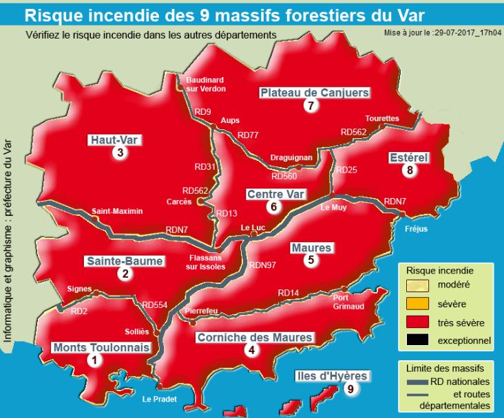 Risques incendies - Carte d'accès aux massifs Var 83