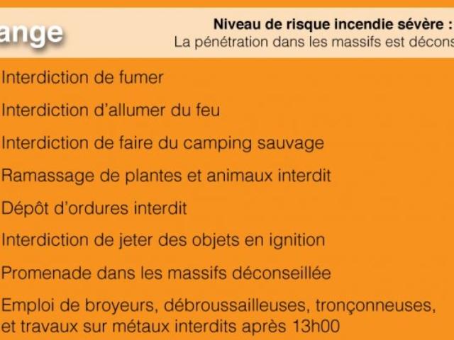Consignes incendie - Niveau de risque incendie orange