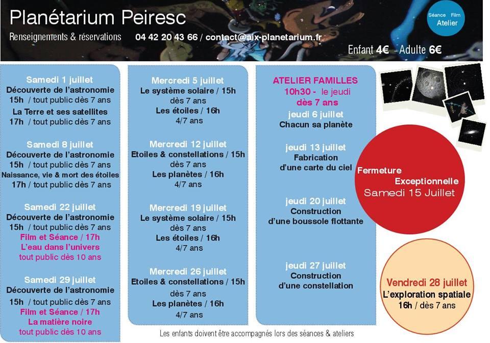 Planetarium Peiresc Aix en Provence Programme juillet 2017