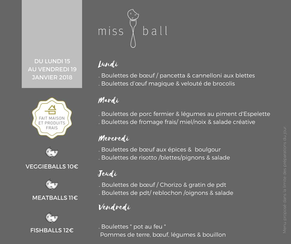 Menus Miss Ball - Calas