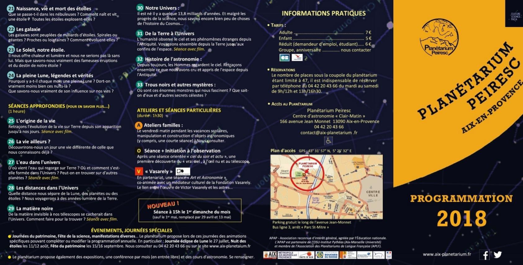 Planetarium Peiresc programmation 2018