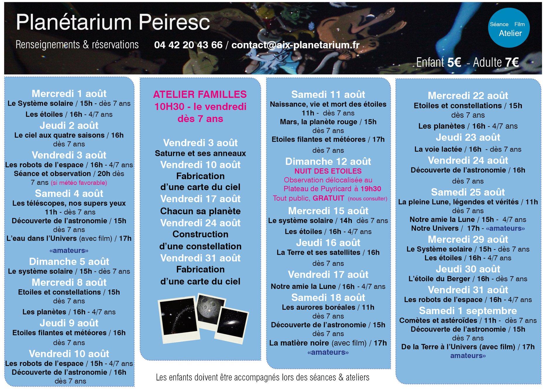 Planetarium Peiresc Aix en Provence Programme août 2018