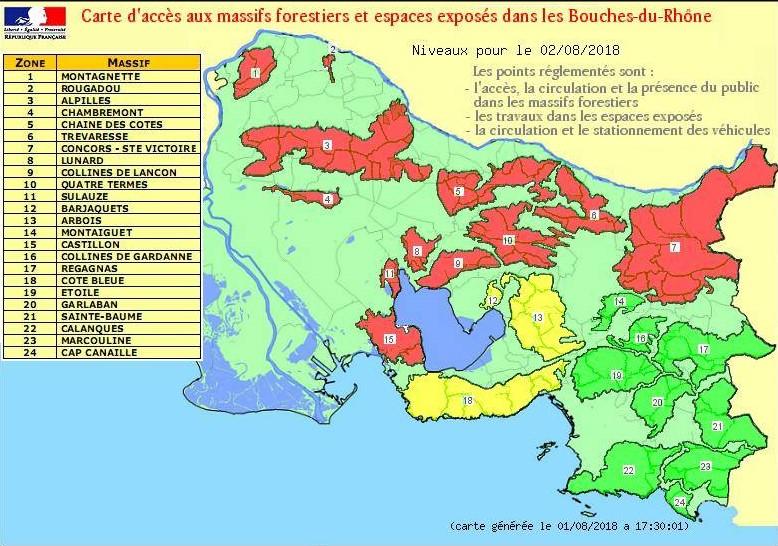 Les couleurs du risque d'incendie en Provence – Prudence et vigilance !