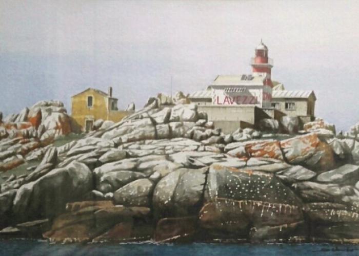 Le phare des îles Lavezzi - Aquarelle David d'Alessandro